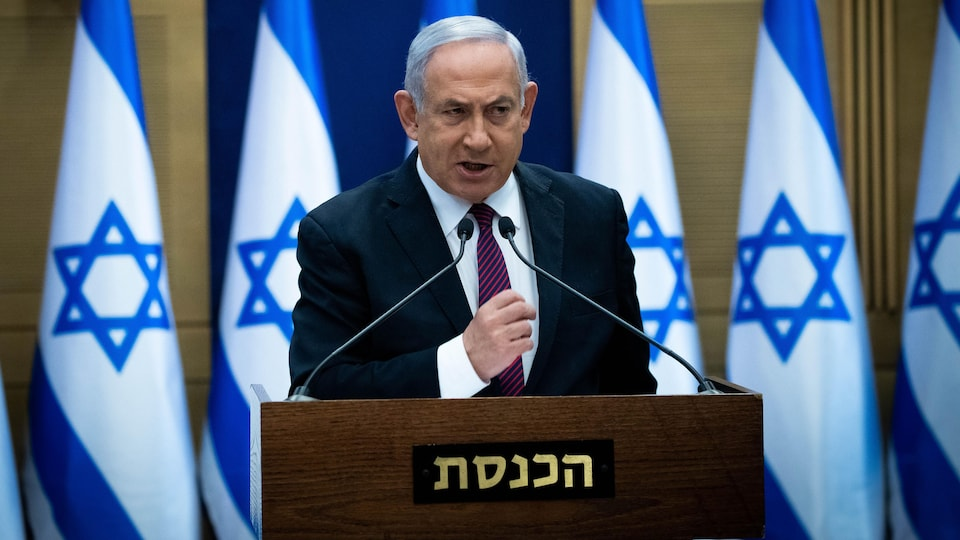 Israeli Prime Minister Benjamin Netanyahu delivers a statement to his Likud party MKs (members of Knesset), at the Likud centre in the Knesset in Jerusalem on December 2, 2020. - Israel's precarious coalition government took a first step towards collapse on December 2, as lawmakers gave preliminary approval to a bill dissolving parliament, raising the risk of a fourth election inside two years. (Photo by Yonathan SINDEL / POOL / AFP) (Photo by YONATHAN SINDEL/POOL/AFP via Getty Images)