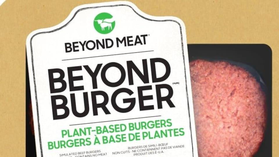 L'étiquette d'un hamburgers à base de plantes de la marque Beyond Meat