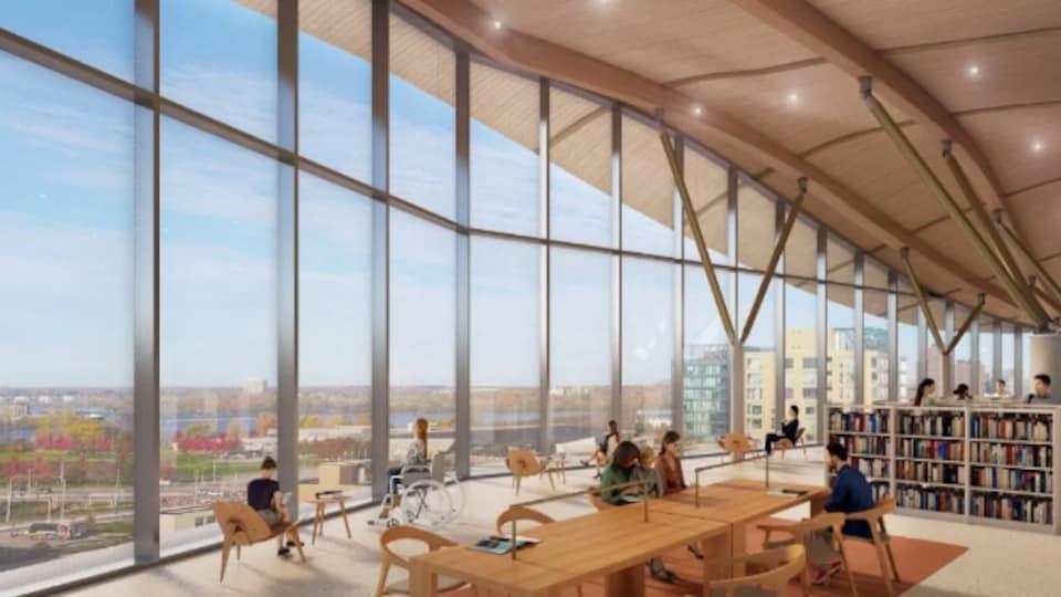Un croquis de la future bibliothèque centrale d'Ottawa.