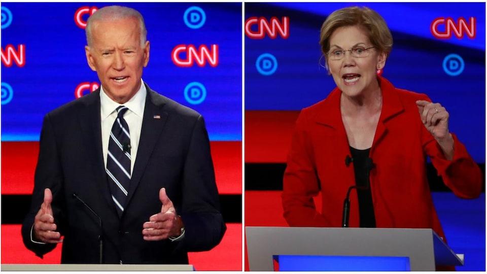 Photomontage de Joe Biden, les mains levées, et d'Elizabeth Warren, la main gauche en l'air, prenant la parole lors de précédents débats.