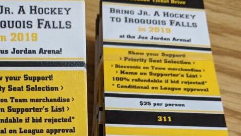 Des billets de hockey