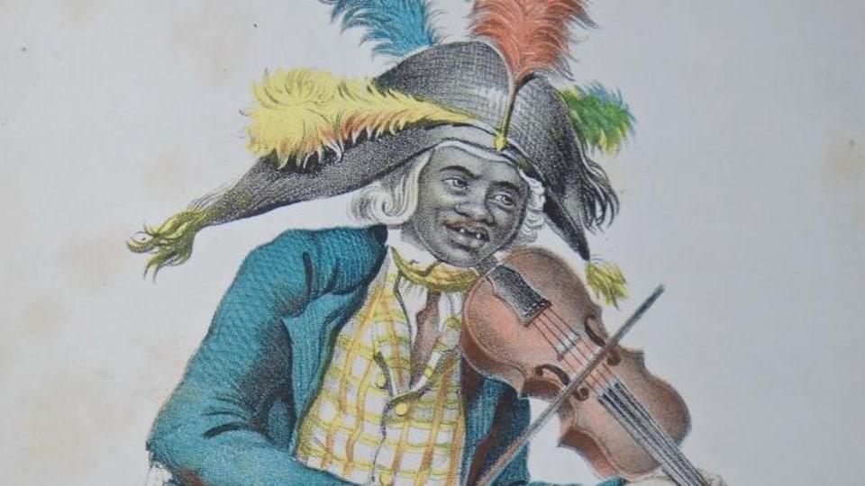 Le dessin d'un homme tenant un violon à la main, unijambiste, un chapeau bicorne orné de plumes sur la tête.