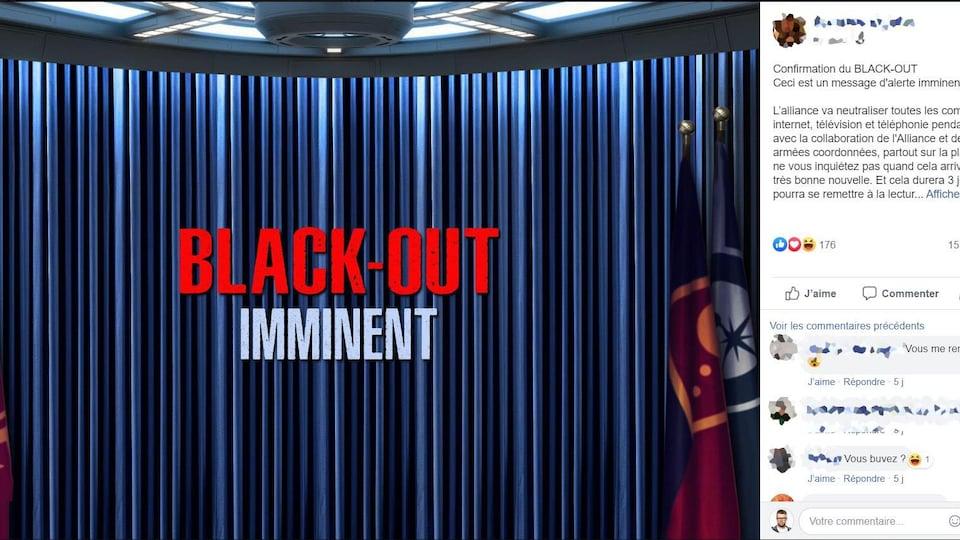 C'est un texte avec une image sur laquelle il est écrit « black-out imminent ».