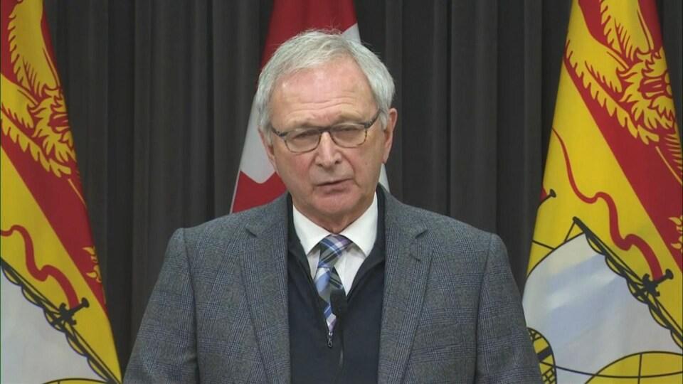 Le premier ministre du Nouveau-Brunswick, Blaine Higgs, en conférence de presse