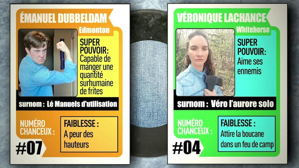 En format de carte de hockey, les joueurs de l'équipe des bleus jeans d'IMPROVISIO 2: Émanuel Dubbeldam et Véronique Lachance.