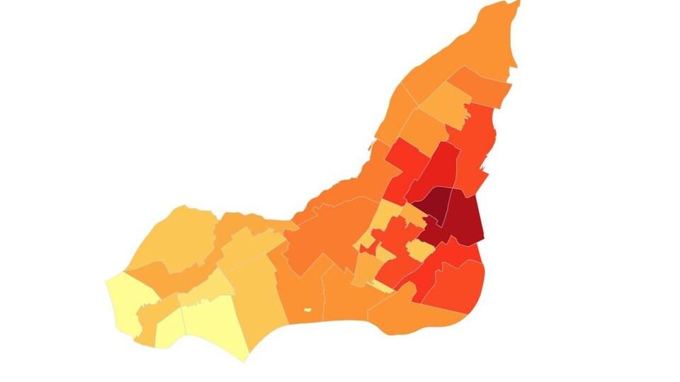 Carte montrant grâce à différentes couleurs la proportion de personnes âgées de 25 à 34 ans.