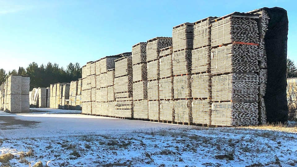 Des palettes de bois empilées à l'extérieur de Planchers Lauzon.