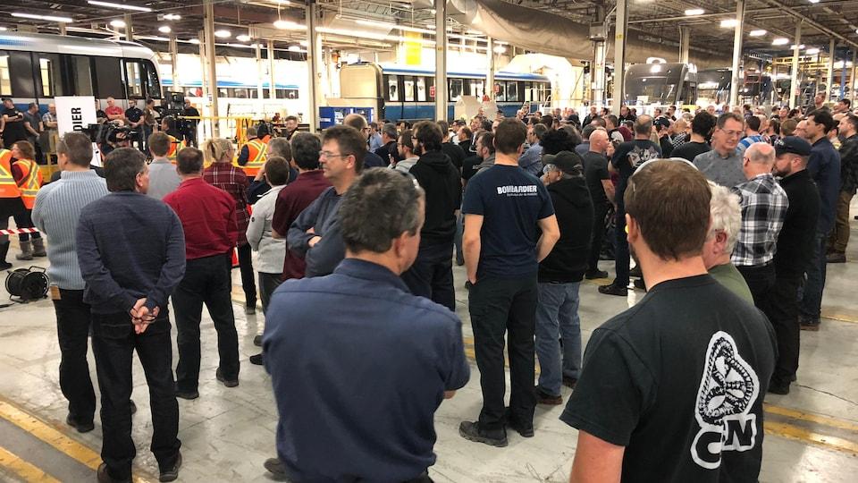 Des travailleurs de Bombardier à La Pocatière