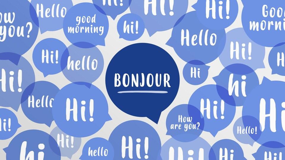 """Plusieurs phylactères contenant des mots anglais entourant un phylactère contenant le mot """"Bonjour""""."""