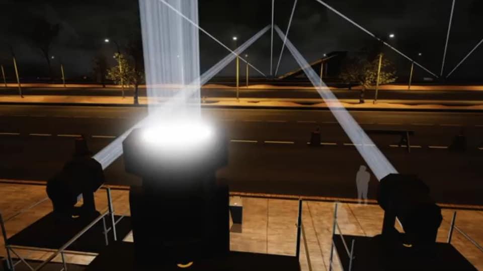 Les rayons lumineux seront visibles à 15 kilomètres.