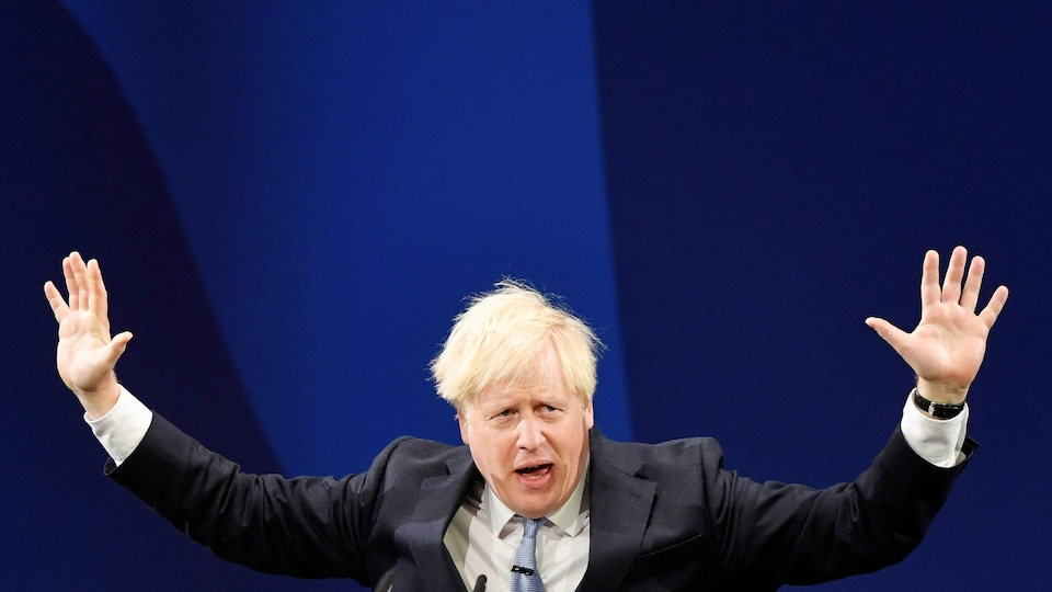 Prime Minister Boris Johnson during a party conference in Manchester