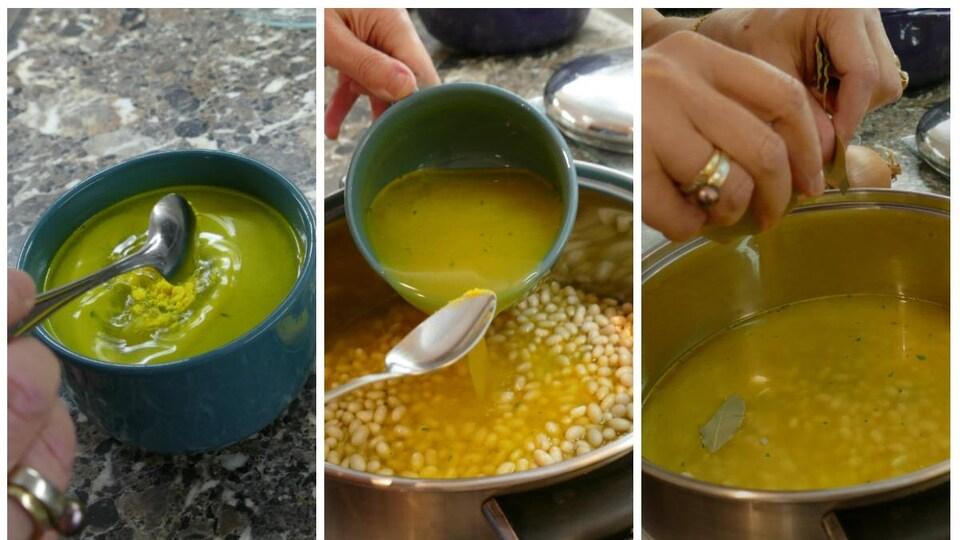 Colette mélange la poudre de bouillon de poulet dans de l'eau et l'ajoute aux haricots avec des feuilles de laurier.