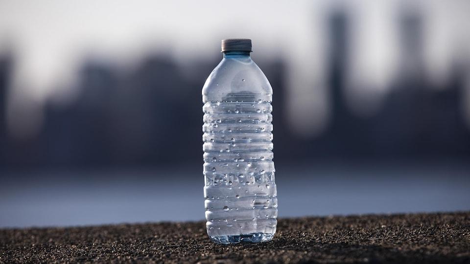 Une bouteille de plastique à usage unique est photographiée devant une ville vue en silhouette.
