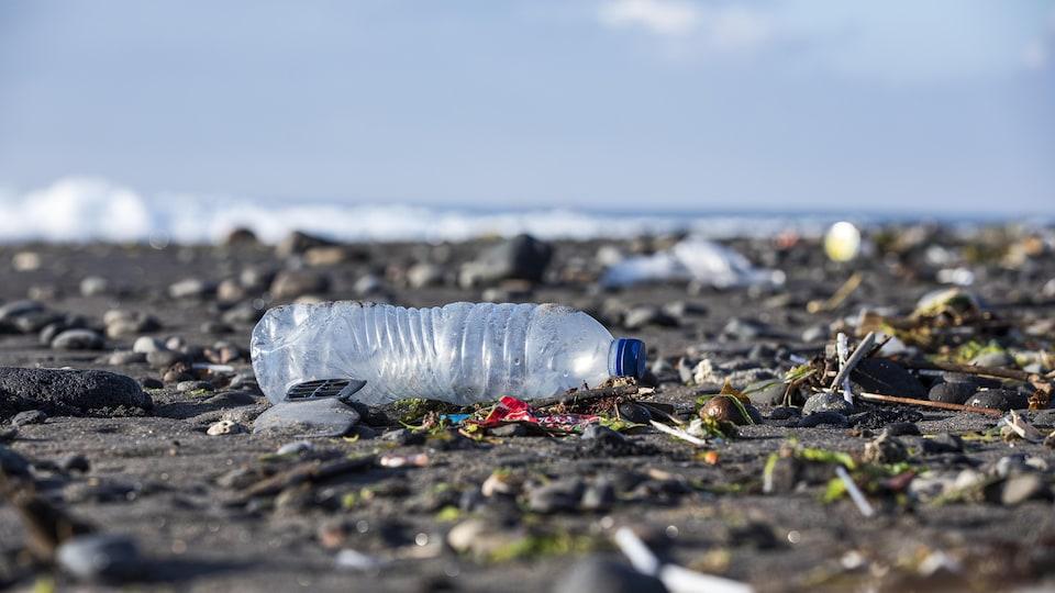 Une bouteille d'eau en plastique parmi les ordures sur une plage.