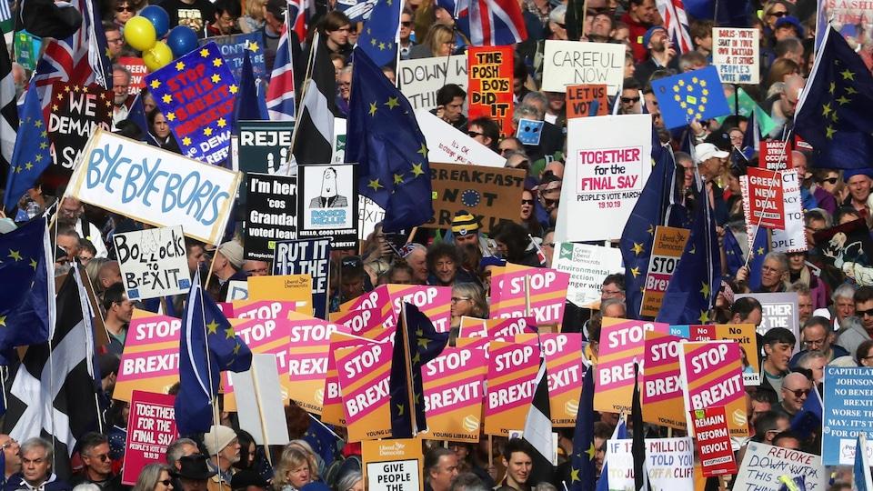 Les manifestants et leurs pancartes colorées remplissent l'image.