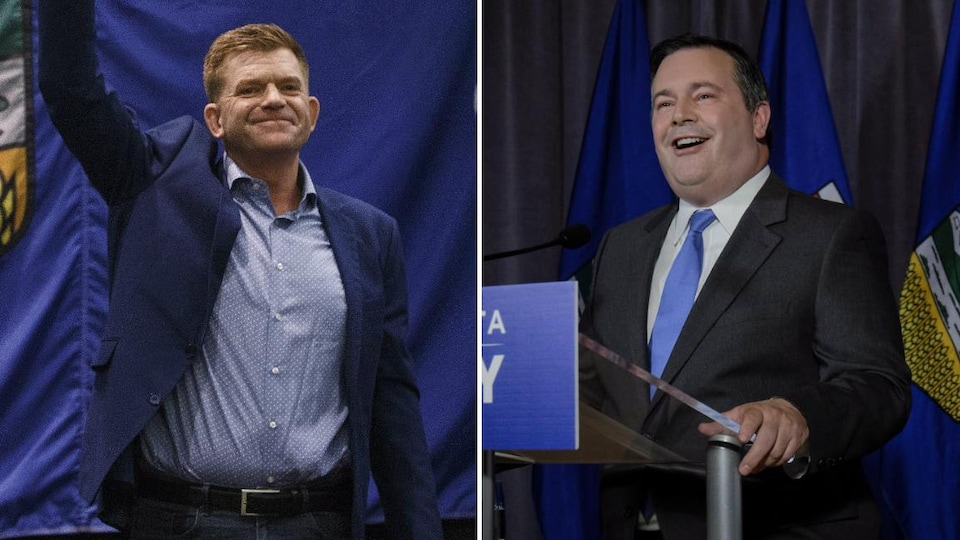 Le chef du Parti Wildrose, Brian Jean (à gauche), et son homologue du Parti progressiste-conservateur de l'Alberta, Jason Kenney (à droite).
