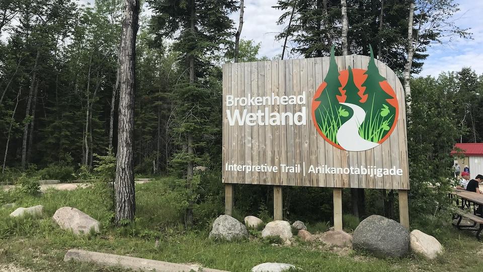 Un grand panneau en bois qui indique : « Brokenhead Wetland Interpretative Trail - Ankikanotabijigade », devant des arbres.