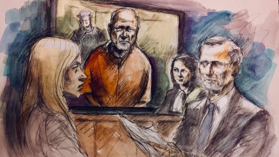 Un sketch de cour qui comprend quatre personnes