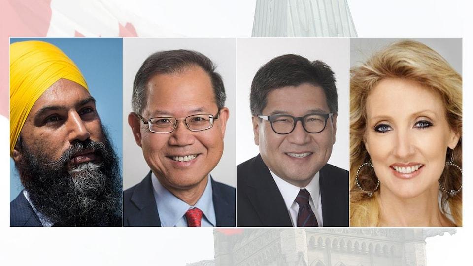Montage photo des 4 candidats.