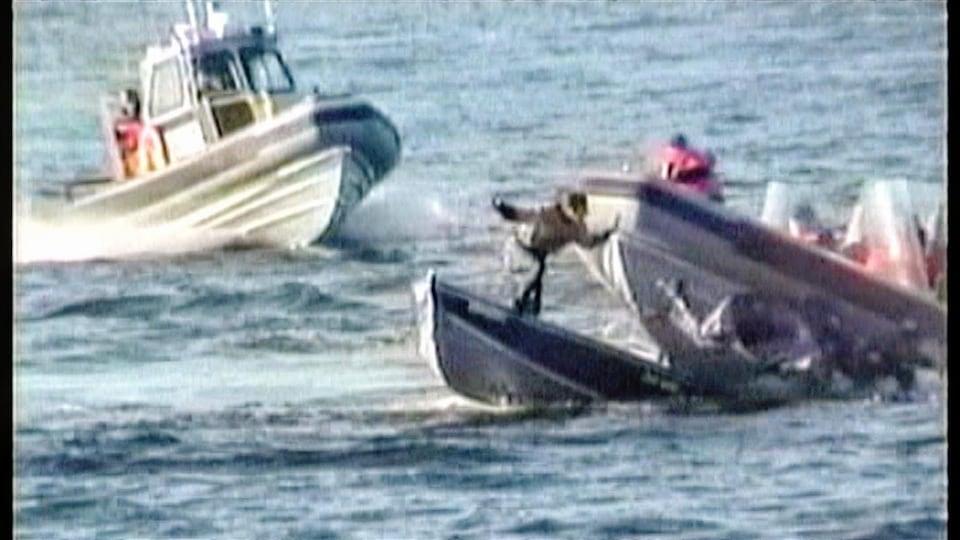 Une confrontation entre des bateaux dans la baie de Miramichi.