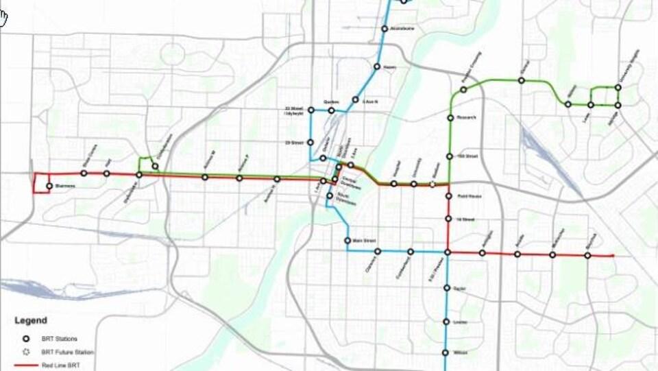 Plan de Saskatoon indiquant les lignes du nouveau service d'autobus.