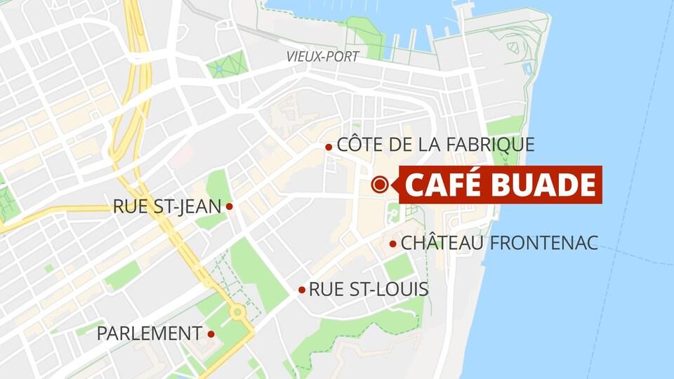 Le Café Buade est situé sur la rue De Buade dans le Vieux-Québec