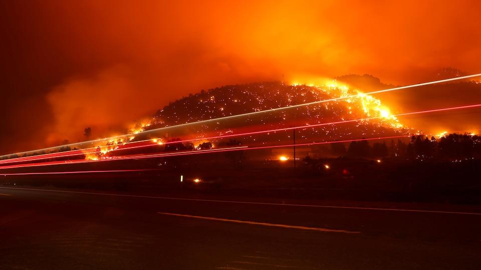 Une colline boisée ravagée par le feu.
