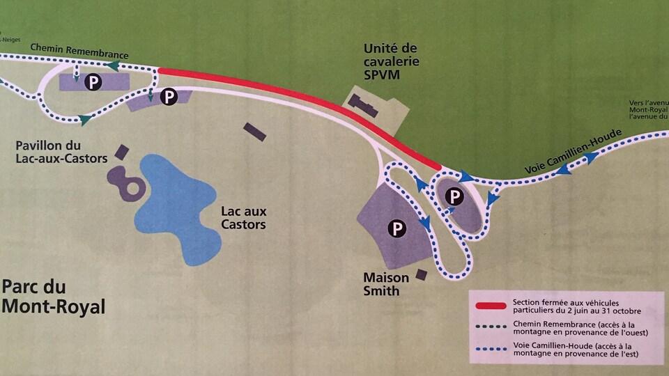 Le plan de circulation sur le mont Royal pour la durée du projet pilote