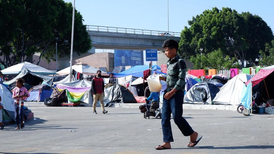 Le camp de migrants situé près de la frontière entre le Mexique et les États-Unis.