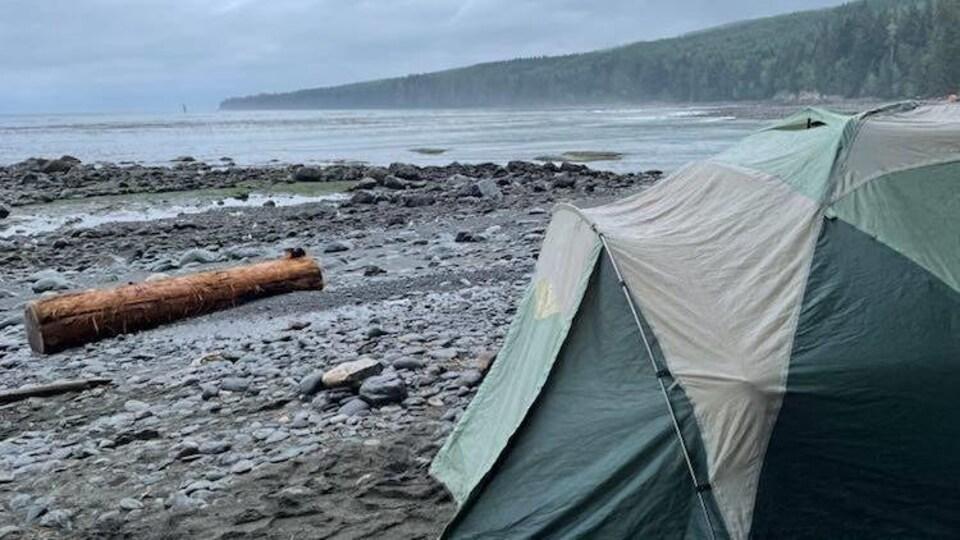 Une tente est montée sur une plage de l'île de Vancouver non loin de la mer sous un temps nuageux.