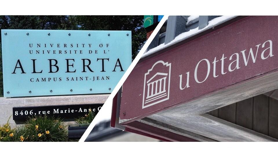 Les enseignes du Campus Saint-Jean et de l'Université d'Ottawa.