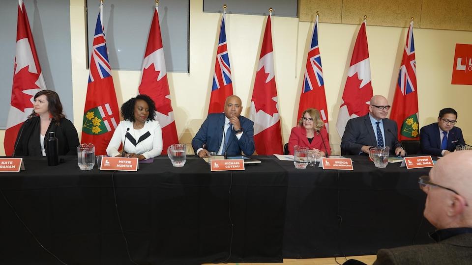 Kate Graham, Mitzie Hunter, Michel Coteau, Brenda Hollingsworth, Steven Del Duca et Alvin Tedjo font face à une salle lors d'un débat.