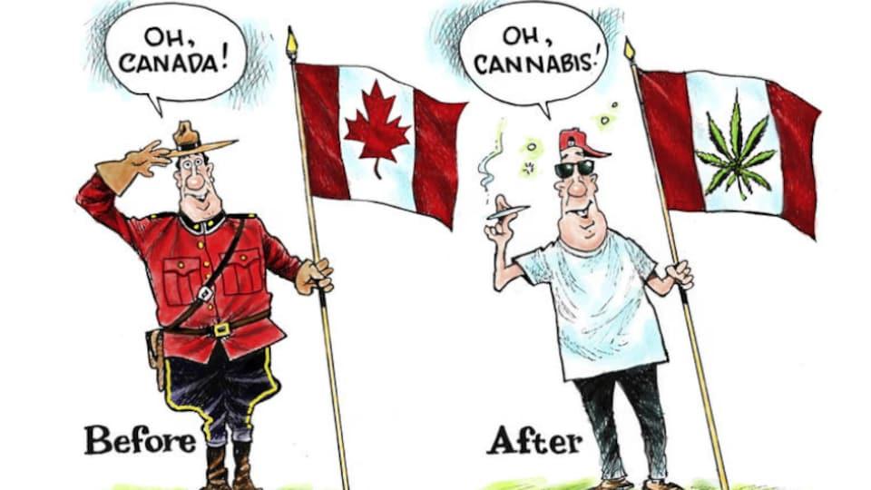 Une caricature parue dans le magazine américain «Mother Jones». L'article, repris par le «Courrier international» s'intitule : «Le Canada prêt à rafler le marché de l'herbe».