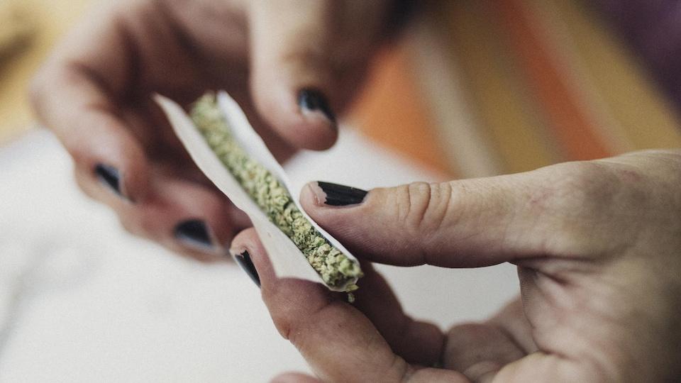 Mains d'une femme roulant une cigarette de marijuana.