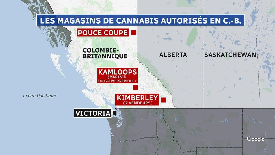 Sur une carte de la Colombie-Britannique, sont indiquées Pouce Coupe, Kamloops et Kimberley, les trois villes où du cannabis est vendu légalement.