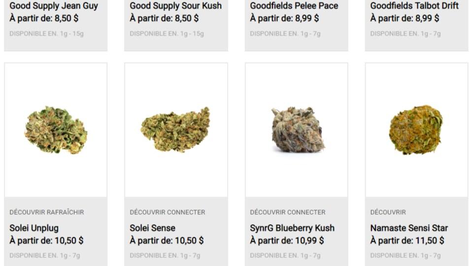 Capture d'écran du site cannabis-nb.com le 15 octobre 2018 montrant 8 variétés différentes de cannabis en fleurs séchées.