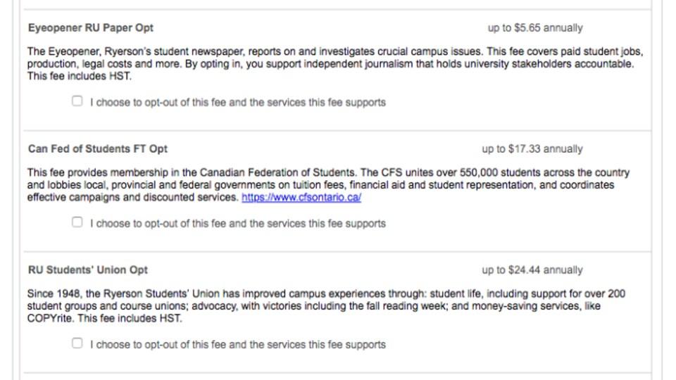 Capture d'écran de la liste (non exhaustive) de certains frais « non-essentiels » dont peuvent se délester les étudiants de l'Université de Ryerson depuis la rentrée.