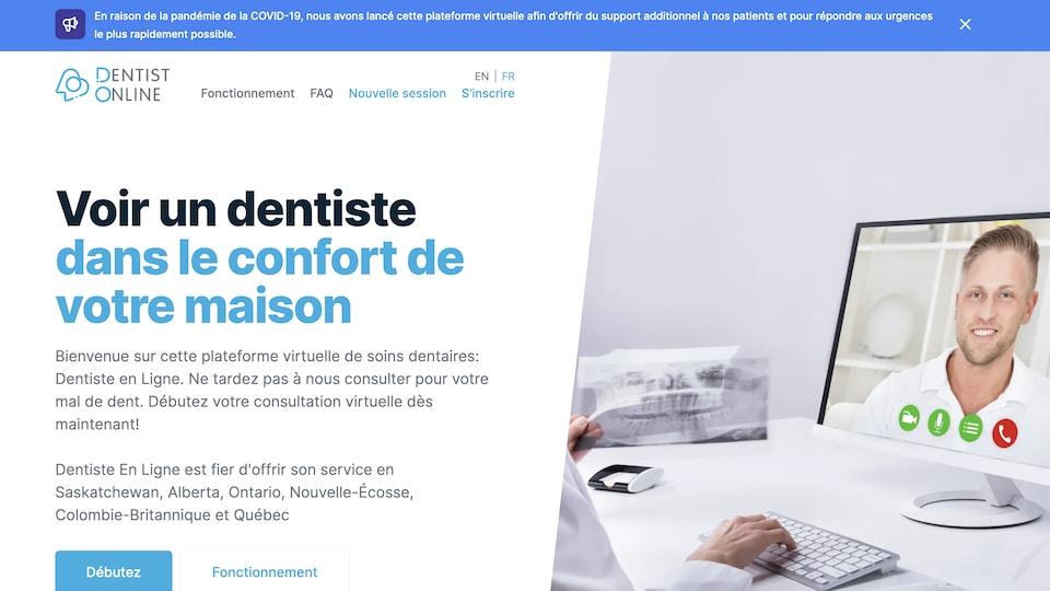 Capture d'écran de la plateforme Dentist online.