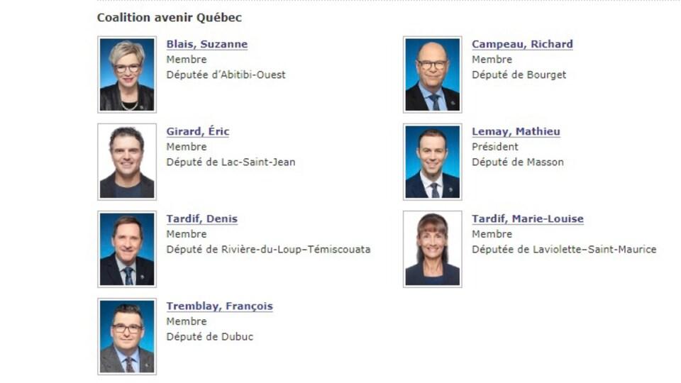 Les députés de la CAQ membres de la Commission de l'agriculture, des pêcheries, de l'énergie et des ressources naturelles.