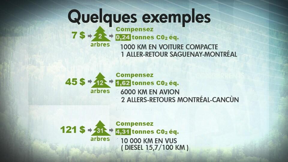 Un tableau montre qu'il faut planter 2 arbres pour compenser les émissions polluantes d'un trajet Saguenay-Montréal.