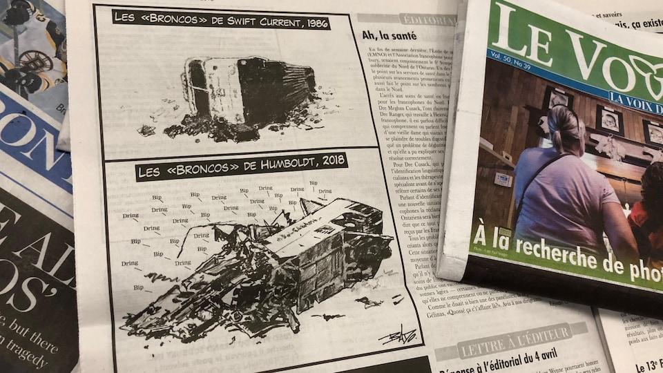 """La caricature montre deux vignettes. Dans chacune d'elle, il y a un accident d'autocar. La première vignette montre l'accident impliquant les Broncos de Swift Current en 1986. On y voit la carcasse silencieuse de l'autocar accidenté. La seconde vignette représente l'accident impliquant les Broncos de Humboldt en 2018. Elle montre l'autocar accidenté. Il en sort d'innombrables sons : """"bip"""" et """"dring"""", en référence aux téléphones intelligents des membres de l'équipe."""