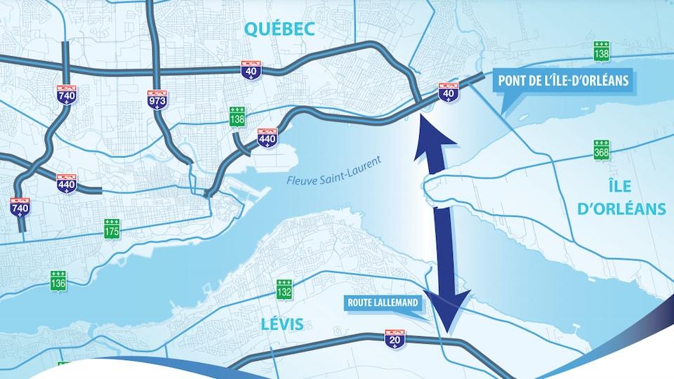 Le tracé du tunnel entre Lévis et Québec tel qu'annoncé par le ministère des Transport jeudi.