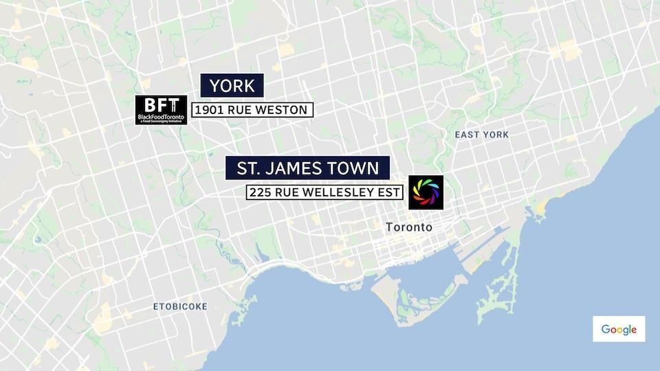 Graphique qui montre où se trouvent les organismes Black Food Toronto et la Coopérative communautaire de St. James Town.