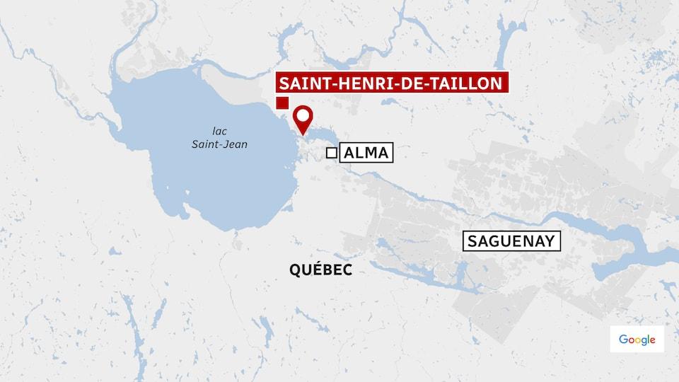 Carte identifiant le lac Saint-Jean et la rivière Saguenay.