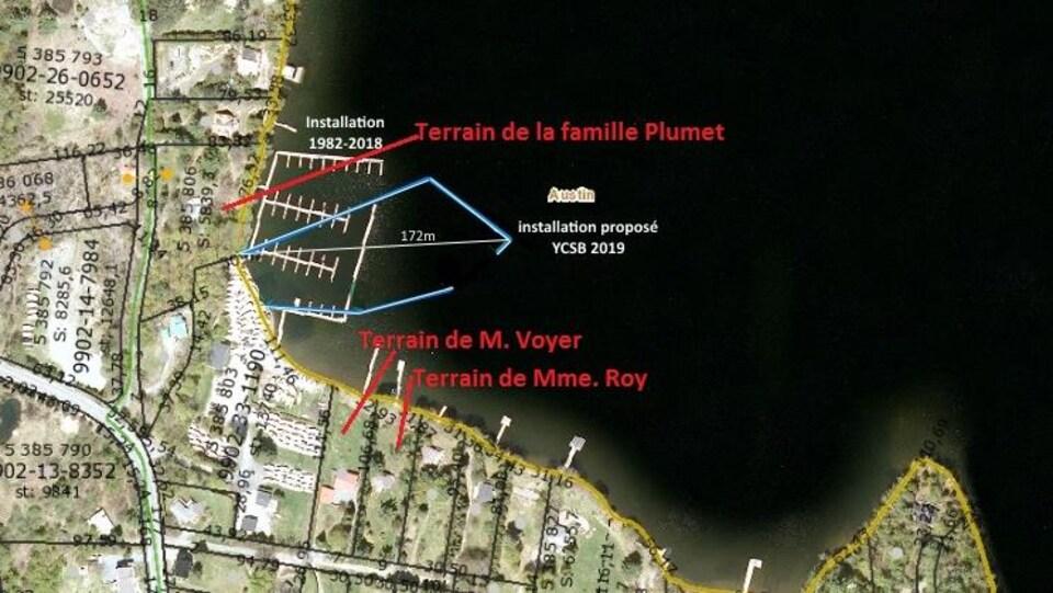 Plan aérien de la baie Sargent au lac Memphrémagog préparé par le groupe de citoyens inquiets.