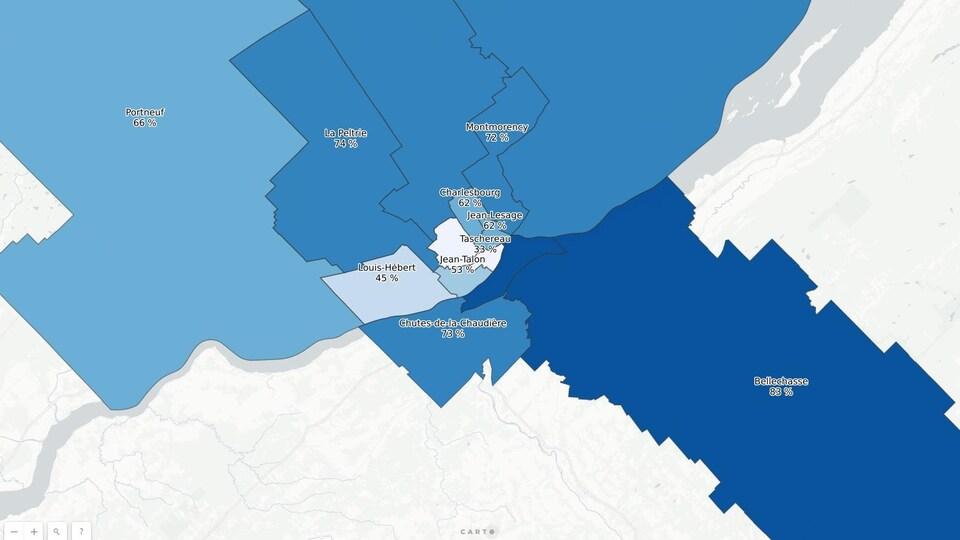 Une carte de la grande région de Québec montrant les différents taux d'appuis au troisième lien. Les appuis sont plus faibles au centre qu'en périphérie.