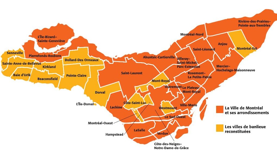 En orange, les arrondissements de Montréal.