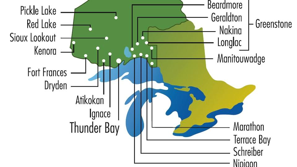 Une carte de l'Ontario avec les noms de plusieurs communautés.