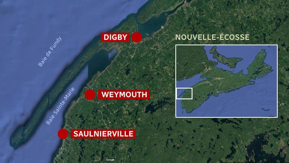 Carte de la Baie Sainte-Marie, dans le sud-ouest de la Nouvelle-Écosse.