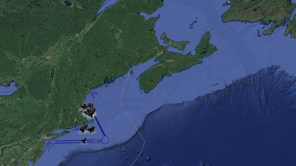 Les queues des baleines sur la carte représentent les lieux où elles ont été aperçues entre le 6 et le 20 avril 2018.